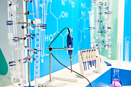 Chemical flasks and equipment in lab