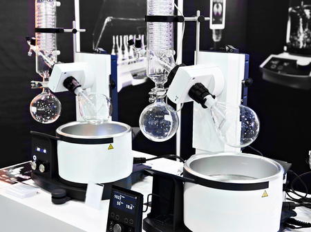 Laboratory rotary evaporator with chemical preparation in a flask