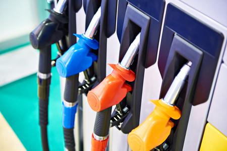 Fuel nozzles on filling station closeup
