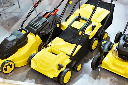 Yellow electric scarifiers in store Фото со стока