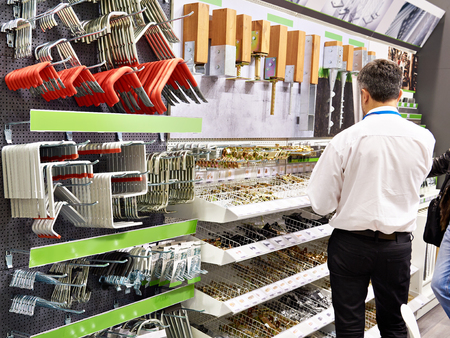 Fastening tools and parts in the store construction