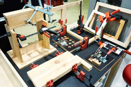 Workbench and modern carpentry tools Фото со стока