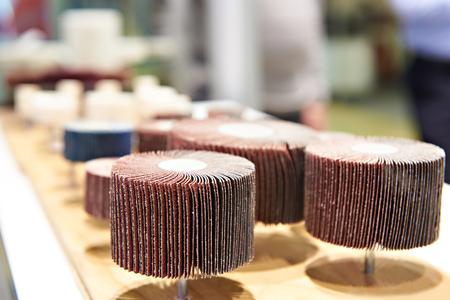 Disc of sandpaper in shop closeup