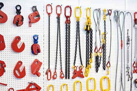 Équipement de levage et chaînes en magasin d'exposition