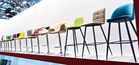 Bar stools in the furniture store