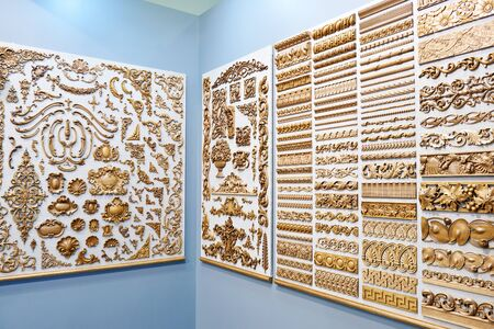 Wooden carved patterns for interior decoration in showcase store Banco de Imagens