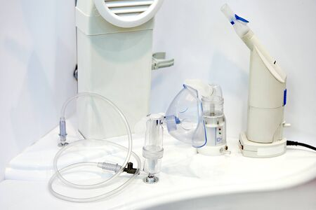 Medical devices for inhalation on exhibition store Banco de Imagens