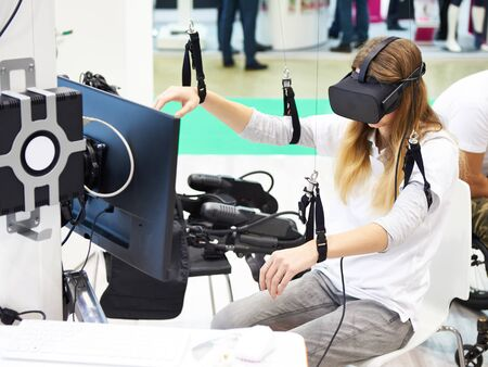 Stand with a virtual reality device for the rehabilitation of people Banco de Imagens
