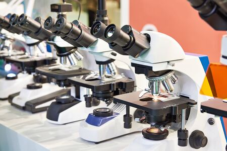 Optical microscopes in the store at the exhibition Banco de Imagens