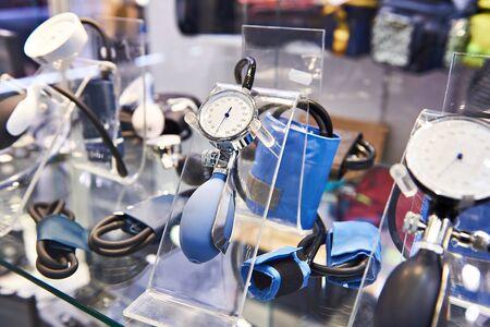 Blood pressure meter in store. Sphygmomanometer Banco de Imagens