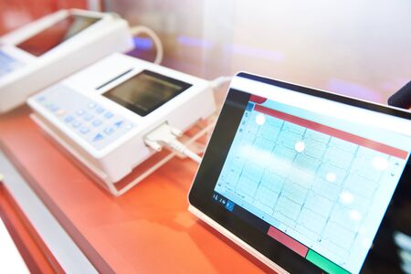 Modern electrocardiographs on exhibition store