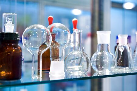 Glass flasks in a chemical laboratory Banco de Imagens