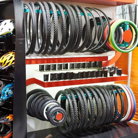 Bicycle tires an assortment of the store