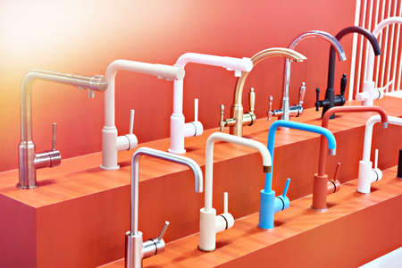Modern kitchen water taps in the store