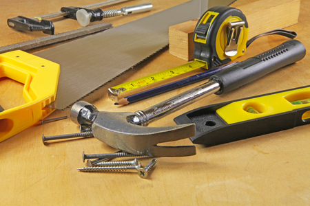 Carpenter tools – A carpenters bench with various tools Stock fotó