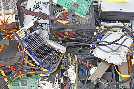 Computer  parts– A plan view of computer parts Banco de Imagens