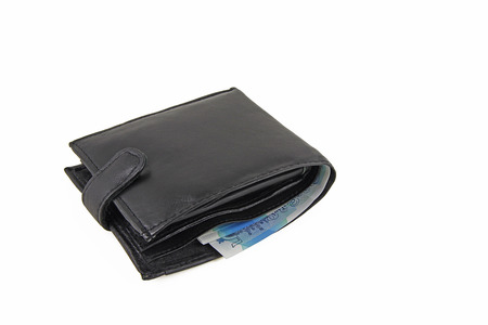 Wallet – A black wallet with sterling notes isolated on a white background