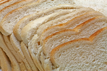 White bread – A plan view of white sliced bread Imagens