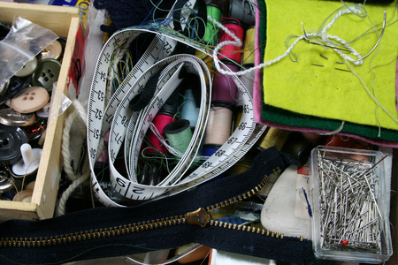 Sewing box – A plan view inside a sewing box