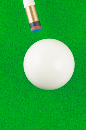 Cue and ball – A plan view of a white ball being cued on a green beize background