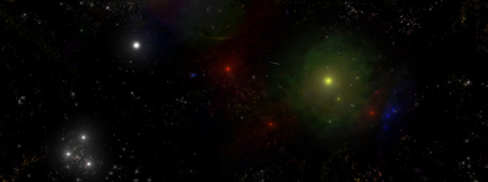 Panorama composition -  view of the universe, planets, stars, galaxy Banco de Imagens