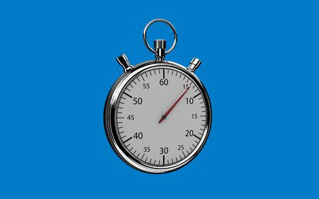 Realistic 3d stopwatch on blue background. Easy remove background