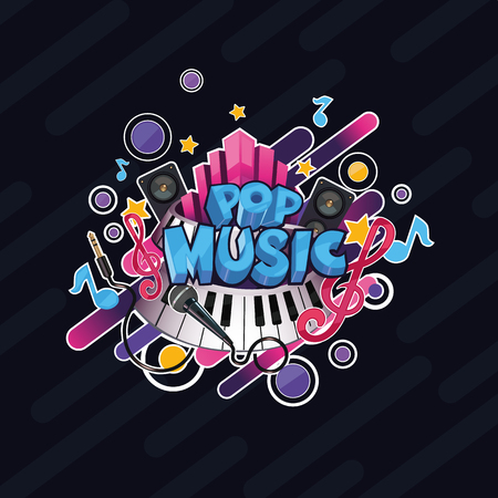 Colorful vector detailed Pop music illustration. Can be used for background and stickers.  イラスト・ベクター素材