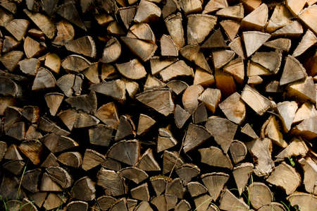 irregular shapes: A pile of firewood, cut into interesting irregular shapes.