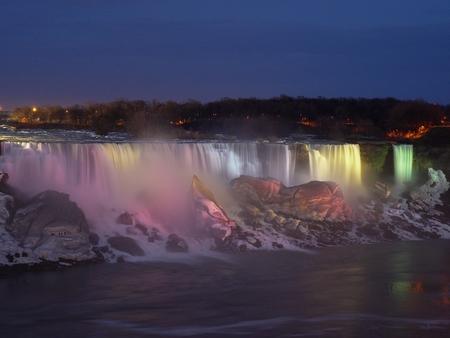Niagara Falls; USA; Canada; Night; Sky; Light; Nature