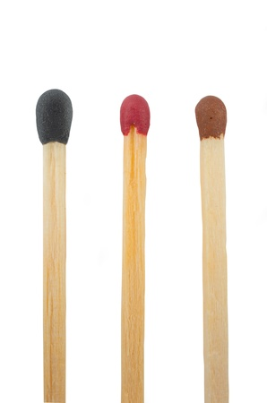 Close-up of a three match isolated on a white background photo