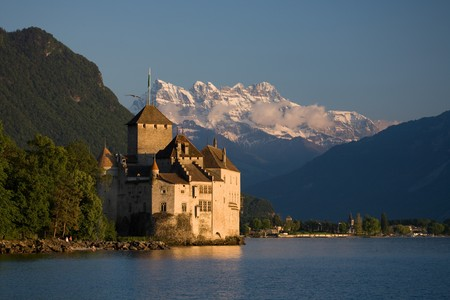 chillon: Chillon Castle on Lake Geneva with the Dents du Midi in the background.