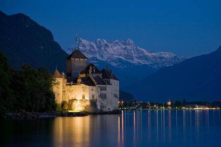 chillon: The Chateau de Chillon on Lake Geneva in the twilight.