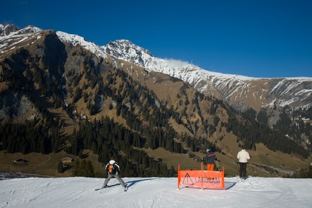 perplexity: Perplexity on the end of ski run due to lack of snow.
