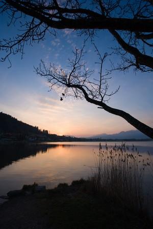idylle: Landscape at dawn rising sun. Stock Photo