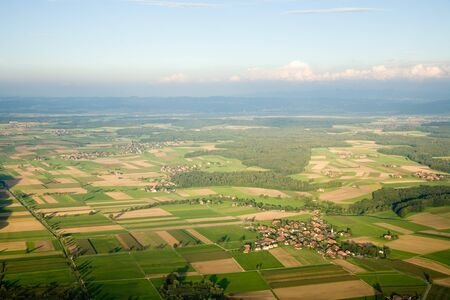 canton berne: Aerial photograph area on agriculture and village Wengi. Stock Photo
