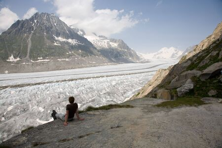 aletsch: View of the Aletsch glacier in the summer.