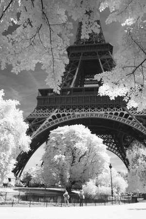 Black and white photo of Eiffel