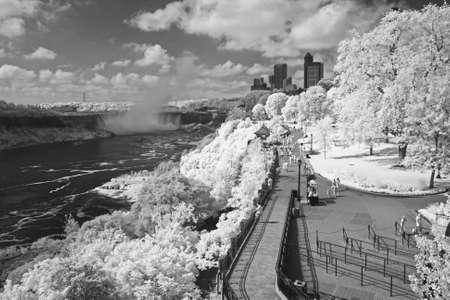 Niagara Falls in the Onta region in black and white Stock Photo - 8669417