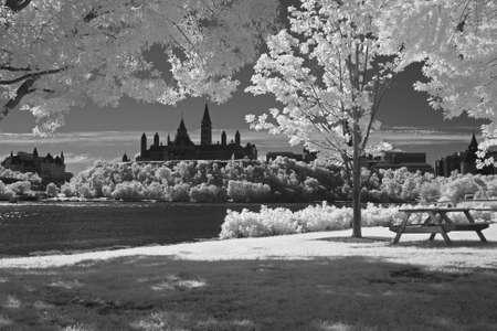 Parlement hill, Ottawa-Canada in zwart-wit Stockfoto
