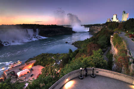 Niagara falls, landscape with both waterfalls  in hdr  photo