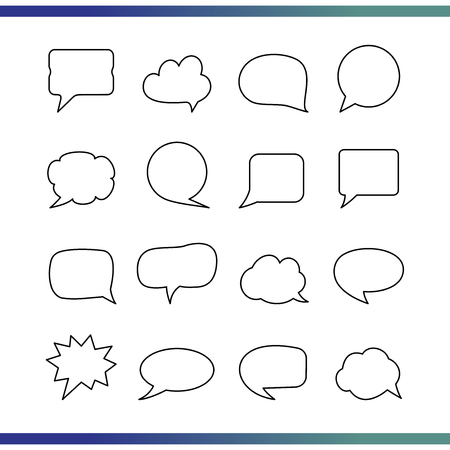 Set of Thin line blank empty speech bubble. Simple icon illustration for your website, blog, social media, articles, infographics design.