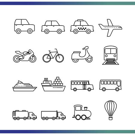 Set of Vehicle / Transportation icon. Vektoros illusztráció