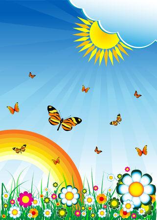Flowers, sky, sun, rainbow and grass Vector