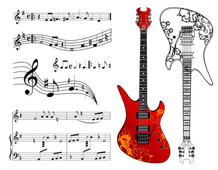 Guitar and music Vector