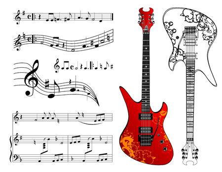 musical score: Guitar and music