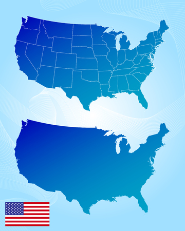 state: United States of America map and flag