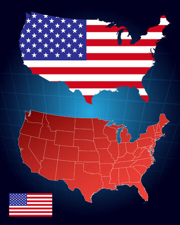 wavy fabric: United States of America map and flag