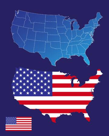 profundidad: Mapa de Estados Unidos de Am�rica y la bandera