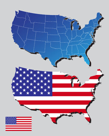 United States of America map and flag