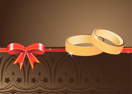 Two golden rings and ribbon Vector